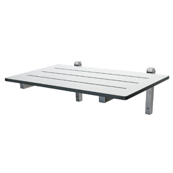 White Laminate & Stainless Steel Folding Shower Seat: 600mm x 400mm